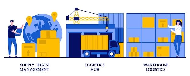 Gestione della catena di approvvigionamento, hub logistico, concetto di logistica di magazzino con persone minuscole. trasporto merci, set di stoccaggio. smistamento e spedizione, consegna pacchi.