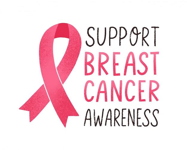 Supporta le scritte sulla consapevolezza del cancro al seno. iscrizione calligrafica scritta a mano motivazionale con il simbolo del nastro rosa su sfondo bianco. frase ispiratrice colorata di lotta contro il cancro. illustrazione