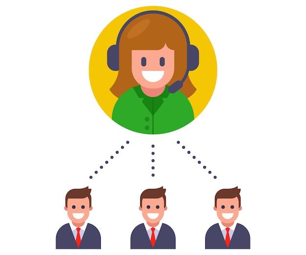Ragazza di supporto. icona della bolla rotonda. illustrazione vettoriale. frecce con le persone