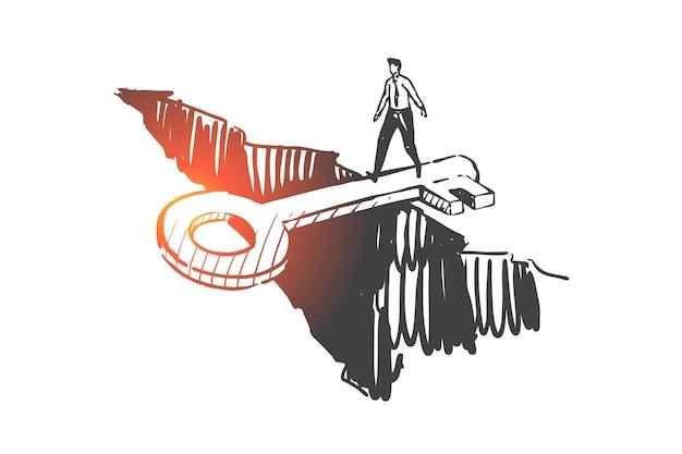 Supporto, aiuto, illustrazione di schizzo di concetto anti crisi