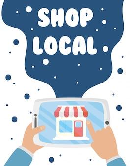 Sostieni la campagna commerciale locale con la costruzione di negozi nel design dell'illustrazione per tablet