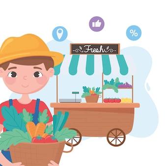 Sostieni le aziende locali, il contadino con cesti e bancarella di verdure per strada