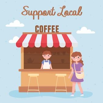 Supporta le imprese locali, il venditore in un bar e la donna cliente