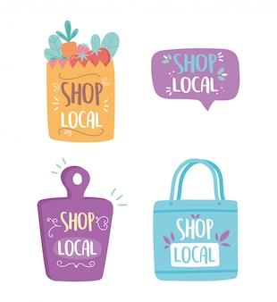 Sostenere le imprese locali, fare acquisti sul piccolo mercato del sacchetto di carta tagliere icone scritte