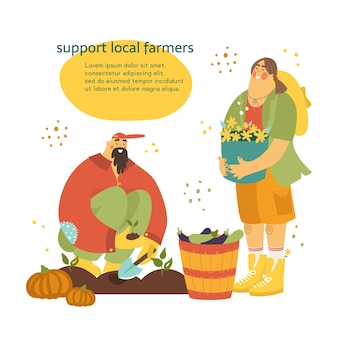 Sostieni gli agricoltori locali. giardiniere piantando semi e donna in piedi con un cesto di fiori