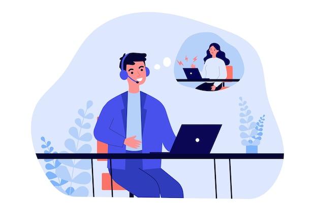 Operatore di supporto che parla all'illustrazione del cliente infelice