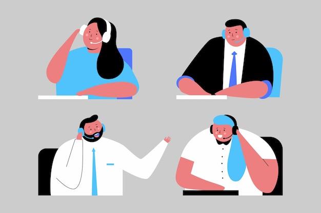 Illustrazione del fumetto di servizio di supporto con personaggi di persone in cuffia isolato su priorità bassa