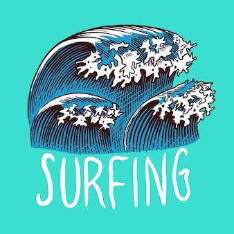 Distintivo di surf. onda retrò.
