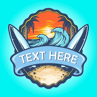 Surf board logo landscape vintage illustrazioni vettoriali per il tuo lavoro logo, t-shirt di merce mascotte, adesivi e design di etichette, poster, biglietti di auguri che pubblicizzano aziende o marchi.