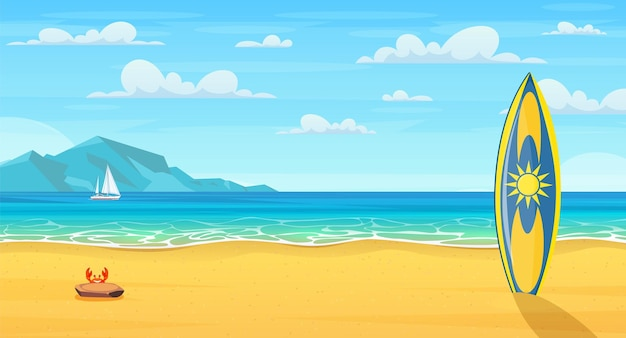 Tavola da surf su una spiaggia sabbiosa. spiaggia estiva dei cartoni animati. vacanza nella natura paradisiaca, oceano o mare mare