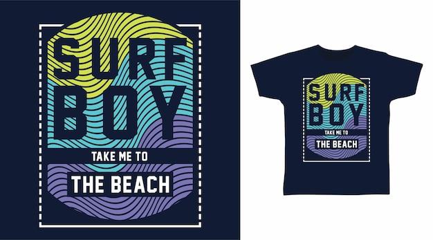 Design del design della maglietta tipografia ragazzo surf