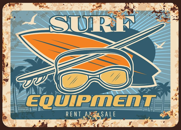 Attrezzatura da surf piastra metallica arrugginita con tavole da surf e maschera