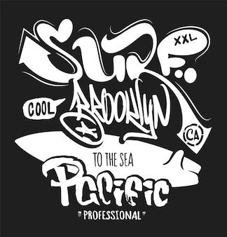 Grafica da surf. stampa di t-shirt. lettering