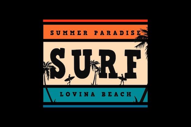 Spiaggia amante del surf, design in stile nevischio