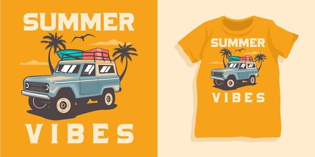 Design della maglietta per auto da surf e fuoristrada