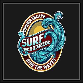 Etichetta surf rider ride the waves