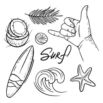Vacanze surf vacanze estive crociera mare spiaggia viaggio relax illustrazione disegnata a mano