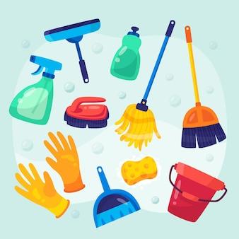 Collezione di design piatto di attrezzature per la pulizia delle superfici