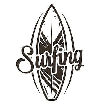 Tavola da surf ornamento grafico monocromatico surf hawaii board
