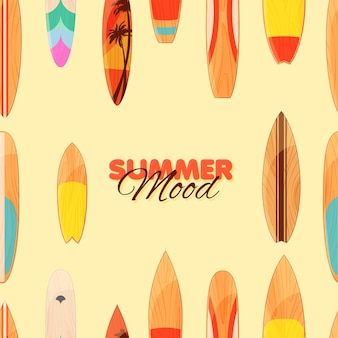 Modello senza cuciture di tavola da surf summer mood