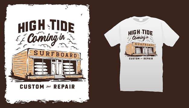 Illustrazione del negozio di tavole da surf