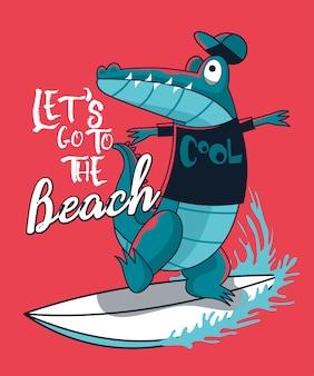 Disegno vettoriale di coccodrillo surfer