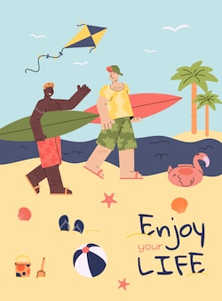 Amici surfista sulla spiaggia d'estate, gente dei cartoni animati con tavole da surf
