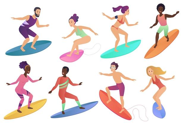 Gente del surfista che guida le tavole da surf