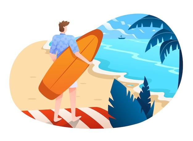 Un surfista pronto a navigare sull'onda dell'oceano illustrazione