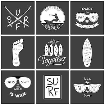 Set surfista. elementi ed etichette vintage. illustrazione.