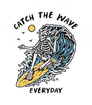 L'illustrazione dello scheletro di surfer con la grande onda premium