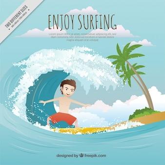 Surfista con una grande onda sulla spiaggia sfondo