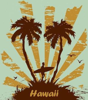 Surfista con palme e posto per il testo