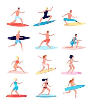 Surfisti. persone divertenti, surfista femminile in piedi sulla tavola da surf.