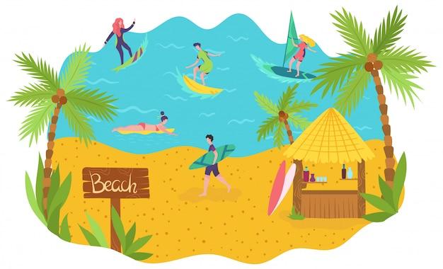 I surfisti sulla spiaggia dell'oceano godono delle vacanze estive, lo svago attivo della gente, illustrazione