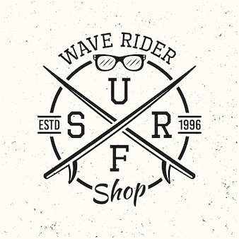 Surf nero vintage rotondo emblema, distintivo, etichetta o logo illustrazione vettoriale su sfondo bianco con texture