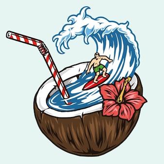 Surf colorato con l'uomo che fa surf in cocco con paglia e fiori di ibisco isolati