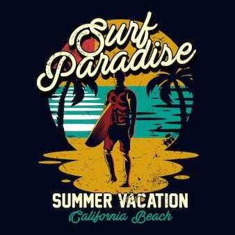 Surf design, illustrazione surf paradise