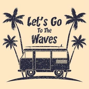 Tipografia grunge surf con palme da surf bus e tavola da surf grafica per abbigliamento di design