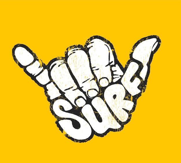 Surf mano segno aloha stampa illustrazione