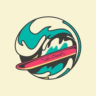 Arte dell'illustrazione di surf
