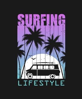 Illustrazione di stile di vita surf