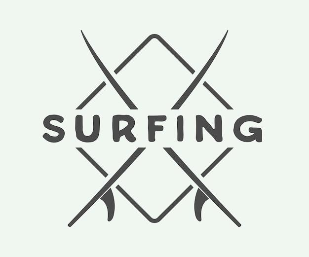 Logo, etichetta o badge da surf Vettore Premium