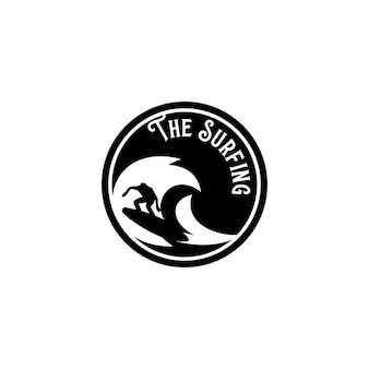 Navigare logo modello vettoriale. vettore di concetto di logo di surf