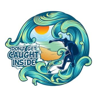 Vettore logo surf