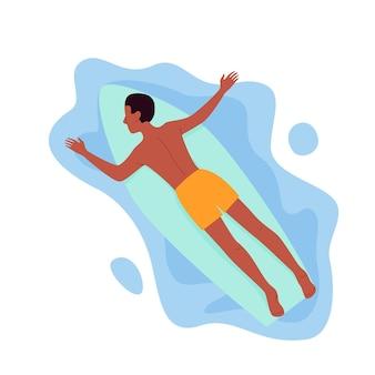 Uomo di surf che galleggia sulla tavola da surf nell'illustrazione di vettore delle acque dell'oceano o del mare. cartone animato giovane surfista personaggio che nuota, sdraiato sulla tavola da surf, stile di vita da viaggio estivo in spiaggia tropicale isolato su bianco