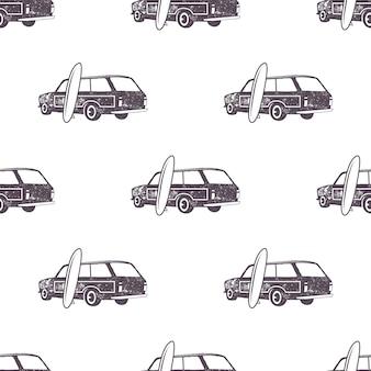 Navigare nel design del modello di auto vecchio stile. carta da parati senza soluzione di continuità estiva con furgone surfista, tavole da surf. auto combinata monocromatica. illustrazione vettoriale. utilizzare per la stampa di tessuti, progetti web, t-shirt o t-shirt.