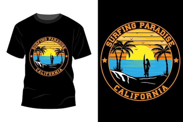 Surfing paradise california t-shirt mockup design vintage retrò