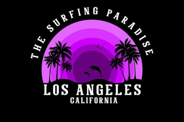 Il design del paradiso del surf in stile retrò silhouette