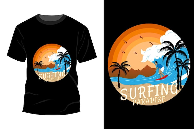 Surf paradise t-shirt mockup design vintage retrò